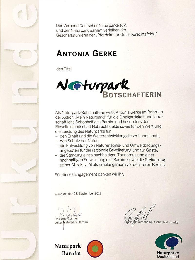 Urkunde Botschafterin Naturparke